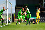 Kieffer Moore (14) of Forset Green Rovers turns to celebrate after scoring a goal to make the score 1-0 with Ethan Pinnock (16) of Forset Green Rovers during the Vanarama National League match between Forest Green Rovers and Southport at the New Lawn, Forest Green, United Kingdom on 29 August 2016. Photo by Graham Hunt.