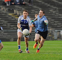 Kiltimagh&rsquo;s Conor Heneghan gets a pass away with Westport&rsquo;s Phil Keegan closing in during the Intermediate final.<br /> Pic Conor  McKeown