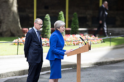 © Licensed to London News Pictures. 09/06/2017. London, UK. British Prime Minister Theresa May makes a statement in Downing Street. Parliament is currently hung, with no party gaining an overall majority. Photo credit : Tom Nicholson/LNP