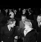 17/04/1961<br /> 04/17/1961<br /> 17 April 1961<br /> Opening of the School Drama Festival in the Gate Theatre  by President Eamonn de Valera. Mrs Sile de Valera (front right) chatting with some of the audience.