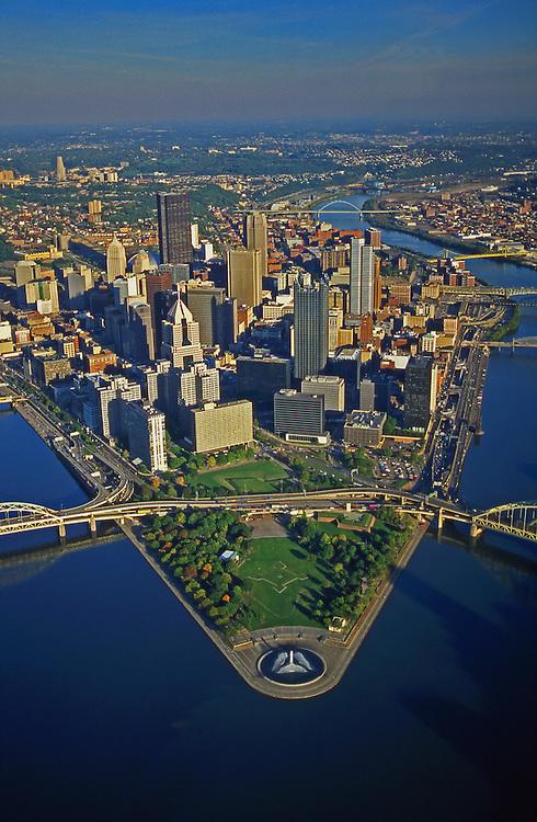 Pittsburgh, PA, Skyline,  Golden Triangle, Aerial Photograph Pennsylvania,