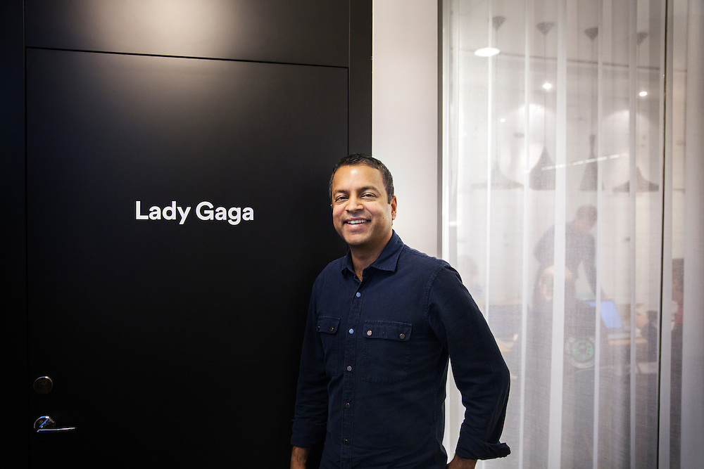 "2016-02-16, Inside Spotify's Stockholm HQ, Sweden. Shiva Rajaraman outside the ""Lady Gaga room"". All conference rooms at Spotify Stockholm carries artists names such as Madonna, Beyonce with others..."
