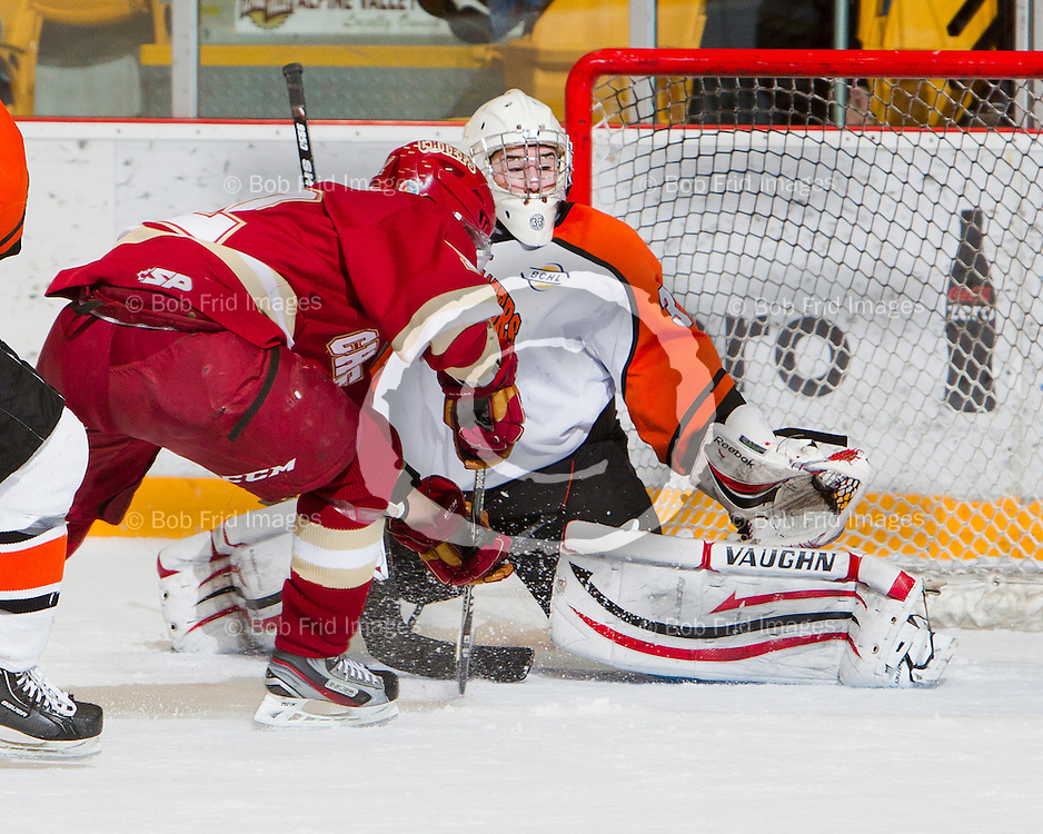 11 March 2012:  David Bondra (12) of the Chiefs   during a game between the Chilliwack Chiefs and the Trail Smoke Eaters.  Prospera Centre, Chilliwack, BC.    Final Score: Chilliwack 5 Trail 2  ****(Photo by Bob Frid/Freemotionphotography.ca) All Rights Reserved : cell 778-834-2455 : email: bob.frid@shaw.ca ****