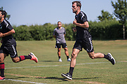 Forest Green Rovers Christian Doidge(9) during the first day back at training for Forest Green Rovers at the New Lawn, Forest Green, United Kingdom on 2 July 2018. Picture by Shane Healey.