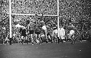All Ireland Senior Football Championship Final, Kerry v Down, 22.09.1968, 09.22.1968, 22nd September 1968, Down 2-12 Kerry 1-13, Referee M Loftus (Mayo)..Kerry forwards crowd the Down goal after a clearance from a free ,