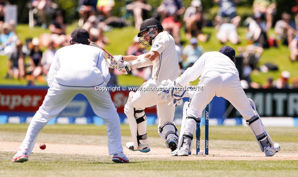 Kane Williamson plays a shot. Day 4, ANZ Boxing Day Cricket Test, New Zealand Black Caps v Sri Lanka, 29 December 2014, Hagley Oval, Christchurch, New Zealand. Photo: John Cowpland / www.photosport.co.nz