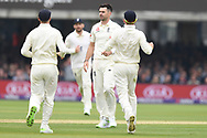 James Anderson of England celebrates after taking the wicket of Azhar Ali of Pakistan on DAy Two of the NatWest Test Match match at Lord's, London<br /> Picture by Simon Dael/Focus Images Ltd 07866 555979<br /> 25/05/2018