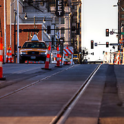 Kansas City Streetcar Line construction progress at 16th & Main.