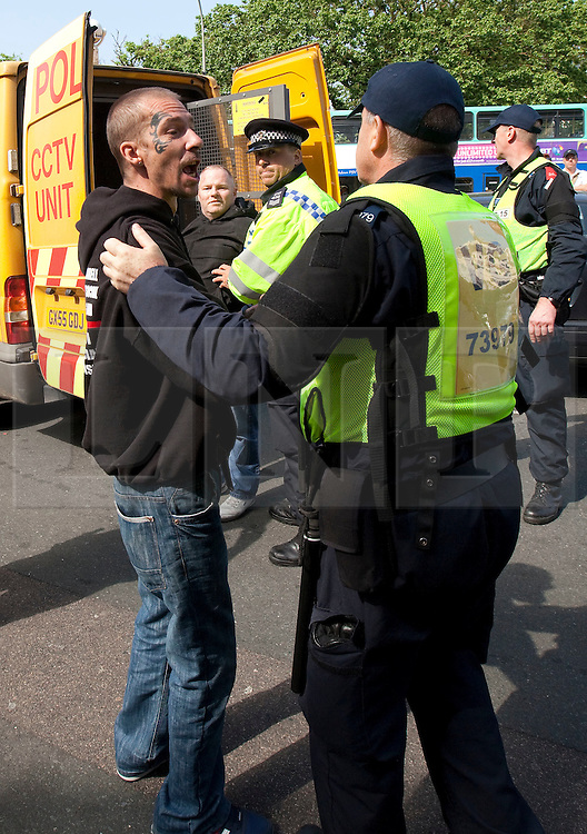 © Licensed to London News Pictures. 02/06/2012. Brighton, UK. Police detain supporters of the EDL and other nationalist groups in Brighton. Photo credit : Joel Goodman/LNP