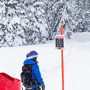 Micah Goodrich at age 9 exits the ski area for his first backcountry adventure in the Tetons.