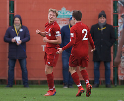 KIRKBY, ENGLAND - Saturday, January 26, 2019: Liverpool's captain Paul Glatzel celebrates scoring the first goal during the FA Premier League match between Liverpool FC and Manchester United FC at The Academy. (Pic by David Rawcliffe/Propaganda)