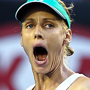 Elena Dementieva of Russia reacts during her second round match against Justine Henin of Belgium at the Australian Open Tennis Tournament in Melbourne, Australia, 20 January 2010.