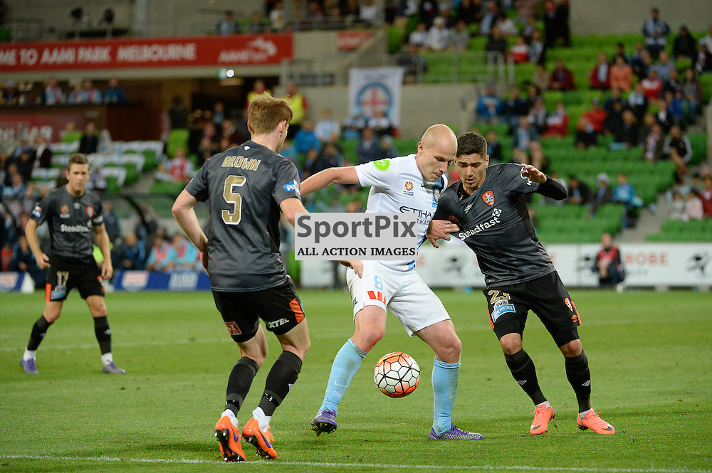 Corey Brown of Brisbane Roar FC, Aaron Mooy of Melbourne City, Dimitri Petratos of Brisbane Roar FC - Hyundai A-League, March 18th 2016, ROUND 24 - Melbourne City FC v Brisbane Roar FC in a 3:1 win to City after a slow first half at Aami Park, Melbourne Australia. © Mark Avellino | SportPix.org.uk