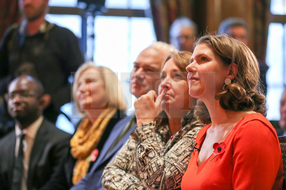 © Licensed to London News Pictures. 05/11/2019. London, UK. Liberal Democrat  MPs SAM GYIMAH (L), SARAH WOLLASTON (2nd from left), ED DAVEY (C) and Leader of the Liberal Democrats JO SWINSON (R) at thelaunch of Liberal Democrat general election campaign in Westminster.A general election will be held on 12 December 2019.Photo credit: Dinendra Haria/LNP