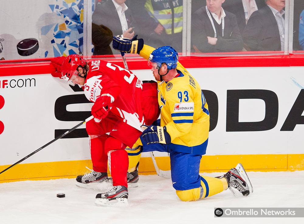 STOCKHOLM  2012-05-07<br /> VM ISHOCKEY DANMARK VS SVERIGE<br /> JOHAN FRANZ&Eacute;N OCH PHILIP LARSEN
