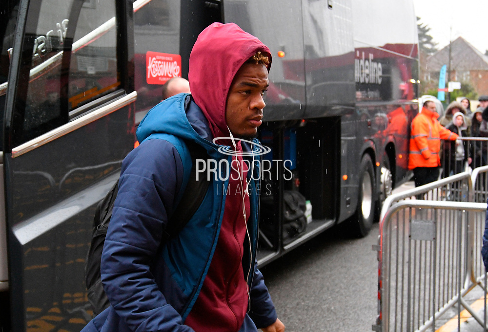 Grady Diangana (45) of West Ham United gets off the team bus on arrival at the Vitality Stadium before the Premier League match between Bournemouth and West Ham United at the Vitality Stadium, Bournemouth, England on 19 January 2019.