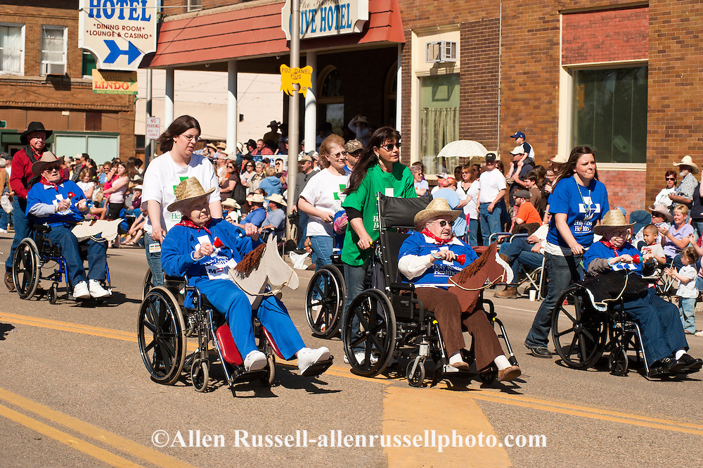 Senior citizens, wheelchairs, Miles City Bucking Horse Sale Parade, Montana