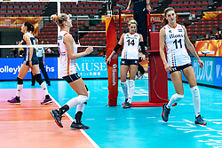 16-10-2018 JPN: World Championship Volleyball Women day 17, Nagoya<br /> Netherlands - China 1-3 / Maret Balkestein-Grothues #6 of Netherlands, Laura Dijkema #14 of Netherlands, Anne Buijs #11 of Netherlands