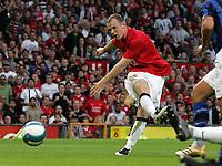 Photo: Paul Thomas.<br /> Manchester United v Inter Milan. Pre Season Friendly. 01/08/2007.<br /> <br /> Wayne Rooney (L) of Utd scores.