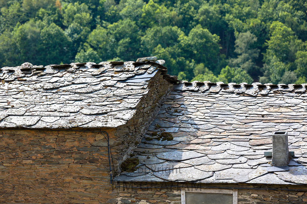 Typical Spanish traditional slate roof architecture at Triacastela in Galicia, Spain