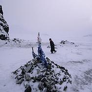 Mongolia. shorunga, sacred rock and oboo, . in Uyanga area. in winter, height lakes area  aymak