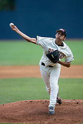 Oregon State Beavers right-handed pitcher Jorge Reyes (23) pitches against the Rutgers Scarlett Knights.  The Oregon State Beavers defeated the Rutgers Scarlet Knights 5-2 in Game 5 of the NCAA World Series Charlottesville Regional held at Davenport Field in Charlottesville, VA on June 4, 2007.