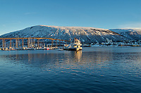 Wintertime in Tromsø. One of thirteen images taken for a panorama with a Leica X2 camera (ISO 100, 24 mm, f/8, 1/250 sec). Raw images processed with Capture One Pro and the composite panorama generated using Auto Pano Giga Pro.