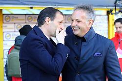 """Foto LaPresse/Filippo Rubin<br /> 24/02/2019 Bologna (Italia)<br /> Sport Calcio<br /> Bologna - Juventus - Campionato di calcio Serie A 2018/2019 - Stadio """"Renato Dall'Ara""""<br /> Nella foto: MASSIMILIANO ALLEGRI (ALLENATORE JUVENTUS) E SINISA MIHAJLOVIC (ALLENATORE BOLOGNA F.C.)<br /> <br /> Photo LaPresse/Filippo Rubin<br /> February 24, 2019 Bologna (Italy)<br /> Sport Soccer<br /> Bologna vs Juventus - Italian Football Championship League A 2018/2019 - """"Renato Dall'Ara"""" Stadium <br /> In the pic: MASSIMILIANO ALLEGRI (ALLENATORE JUVENTUS) AND SINISA MIHAJLOVIC (BOLOGNA'S TRAINER)"""
