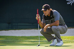 July 15, 2018 - Stateline, Nevada, U.S - Heisman Trophy winner and former NFL quarterback, DOUG FLUTIE, lines up a putt on the 17th green .at the 29th annual American Century Championship at the Edgewood Tahoe Golf Course at Lake Tahoe, Stateline, Nevada, on Sunday, July 15, 2018. (Credit Image: © Tracy Barbutes via ZUMA Wire)