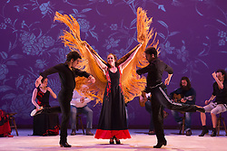 "© Licensed to London News Pictures. 20/02/2015. London, England. L-R: Alberto Selles, Alejandra Gudí and Antonio Lopez performing. Ballet Flamenco de Andalucía perform ""Las Cuatro Esquinas"" from their production ""Images: 20 Years"" during the Flamenco Festival London 2015 at Sadler's Wells Theatre. The show runs from 20-21 February with the festival running from 16 February to 1 March 2015.  Photo credit: Bettina Strenske/LNP"