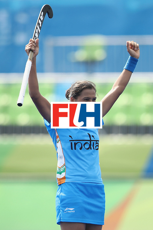 RIO DE JANEIRO, BRAZIL - AUGUST 07:  Rani of India celebrates scoring a goal during the women's pool B match between Japan and India on Day 2 of the Rio 2016 Olympic Games at the Olympic Hockey Centre on August 7, 2016 in Rio de Janeiro, Brazil.  (Photo by Mark Kolbe/Getty Images)