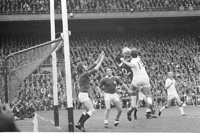 Players fight for the ball in front of the Galway goalmouth during the All Ireland Senior Gaelic Football Championship Final Cork v Galway in Croke Park on the 23rd September 1973. Cork 3-17 Galway 2-13.