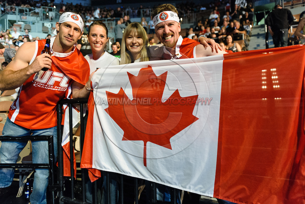 "LAS VEGAS, NEVADA. JULY 11, 2009: Canadian fans hold their national flag during ""UFC 100: Making History"" inside the Mandalay Bay Events Center in Las Vegas, Nevada."