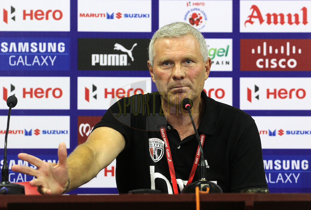 NorthEast United FC coach Ricki Herbert during the press conference of match  match 49 of the Hero Indian Super League between Kerala Blasters FC and North East United FC held at the Jawaharlal Nehru Stadium, Kochi, India on the 4th December 2014.<br /> <br /> Photo by:  Vipin Pawar/ ISL/ SPORTZPICS