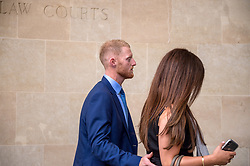 © Licensed to London News Pictures. 13/08/2018. Bristol, UK. BEN STOKES and his wife CLARE RATCLIFFE arrive back at Bristol Crown court at lunchtime today at the start of the second week of his trial on charges of affray that relate to a fight outside a Bristol nightclub on September 25 2017. England cricketer Ben Stokes and Ryan Ali, 28 deny the charge. Stokes and Ali are charged with affray in the Clifton Triangle area of Bristol on September 25 last year, several hours after England had played a one-day international against the West Indies in the city. Ali allegedly suffered a fractured eye socket in the incident. Photo credit: Simon Chapman/LNP
