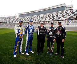 February 10, 2019 - Daytona, FL, U.S. - DAYTONA, FL - FEBRUARY 10: Hendrick Motorsports Teammates Chase Elliott, Hendrick Motorsports, Chevrolet Camaro NAPA Auto Parts (9),Alex Bowman, Hendrick Motorsports, Chevrolet Camaro Nationwide (88) Team owner Rick Hendrick William Byron, Hendrick Motorsports, Chevrolet Camaro Axalta (24), Jimmie Johnson, Hendrick Motorsports, Chevrolet Camaro Ally (48) during qualifying for the 61st annual Daytona 500 on February 10, 2019 at Daytona International Speedway in Daytona Beach, Florida  (Photo by Jeff Robinson/Icon Sportswire) (Credit Image: © Jeff Robinson/Icon SMI via ZUMA Press)