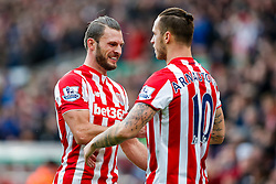 Marko Arnautovic of Stoke City celebrates with Erik Pieters after scoring a goal to make it 2-0 - Mandatory byline: Rogan Thomson/JMP - 26/12/2015 - FOOTBALL - Britannia Stadium - Stoke, England - Stoke City v Manchester United - Barclays Premier League - Boxing Day Fixture.