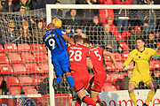 Calvin Andrew heads at goal during the EFL Sky Bet League 1 match between Walsall and Rochdale at the Banks's Stadium, Walsall, England on 2 February 2019.