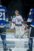 KELOWNA, CANADA -FEBRUARY 8: Jordon Cooke #30 of the Kelowna Rockets lines up against the Victoria Royals on February 8, 2014 at Prospera Place in Kelowna, British Columbia, Canada.   (Photo by Marissa Baecker/Getty Images)  *** Local Caption *** Jordon Cooke;