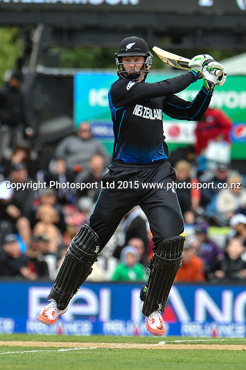 Martin Guptill of the Black Caps during the ICC Cricket World Cup match between New Zealand and Sri Lanka at Hagley Oval in Christchurch, New Zealand. Saturday 14 February 2015. Copyright Photo: John Davidson / www.Photosport.co.nz