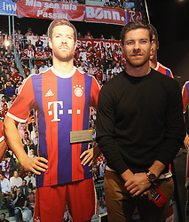 14.10.2014, Allianz Arena, M&uuml;nchen, GER, 1. FBL, FC Bayern Muenchen, Xabi Alonso, im Bild Xabi Alonso (FC Bayern M&uuml;nchen) neben einer Pappfigur // FC Bayern Munich player Xabi Alonso visits the FC Bayern Erlebniswelt Museum at the Allianz Arena in M&uuml;nchen, Germany on 2014/10/14. EXPA Pictures &copy; 2014, PhotoCredit: EXPA/ Eibner-Pressefoto/ FCB/Getty Pool<br /> <br /> *****ATTENTION - OUT of GER*****