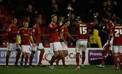 Matthew Mills of Nottingham Forest (C) celebrates scoring his sides third goal - Mandatory byline: Jack Phillips / JMP - 07966386802 - 5/12/2015 - FOOTBALL - The City Ground - Nottingham, Nottinghamshire - Nottingham Forest v Fulham - Sky Bet Championship