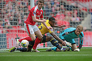 First clear opening to Oxford, but Adam Davies (Barnsley) saves the shot in the scramble during the Johnstone's Paint Trophy Final between Barnsley and Oxford United at Wembley Stadium, London, England on 3 April 2016. Photo by Mark P Doherty.