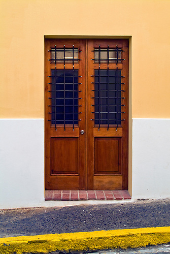 Residence, Peach Wall, Wooden Door, Beautiful, 18th 19th Century  Architecture.