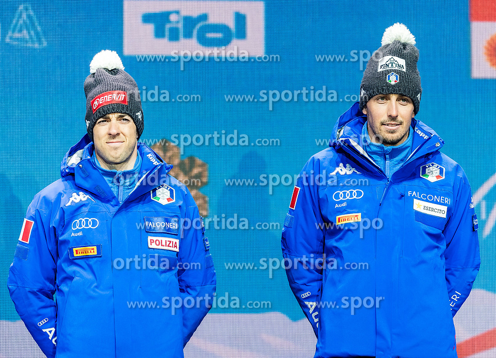 24.02.2019, Medal Plaza, Seefeld, AUT, FIS Weltmeisterschaften Ski Nordisch, Seefeld 2019, Langlauf, Herren, Teambewerb, Siegerehrung, im Bild Bronzemedaillengewinner Federico Pellegrino (ITA), Francesco De Fabiani (ITA) // Bronce medalist Federico Pellegrino Francesco De Fabiani of Italy during the winner ceremony for the men's cross country team competition of FIS Nordic Ski World Championships 2019 at the Medal Plaza in Seefeld, Austria on 2019/02/24. EXPA Pictures © 2019, PhotoCredit: EXPA/ Stefan Adelsberger