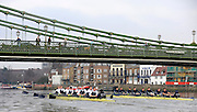 Putney, GREAT BRITAIN,     Bull left, as both crews approach Hammersmith Bridge, during the 2008 Varsity/Oxford University [OUBC] Trial Eights, raced over the championship course. Putney to Mortlake, on the River Thames. Thurs. 11.08.2008 [Mandatory Credit, Peter Spurrier/Intersport-images]..Crews - .Bull, Bow. Colin KEOGH, 2. Douglas BRUCE, 3.Michal PLOTOWIAK, 4. David HOPPER, 5. Aaron MARCOVY, 6. Ben HARRISON, 7. Sjoerd HAMBURGER, Stroke Colin SMITH and Cox Philip CLAUSEN-THUE...Bear, Bow. Tim FARQUHARSON, 2. Ben ROSENBERGER, 3. Mike VALLI. 4. Alex HEARNE, 6 Tom SOLESBURY, 7 George BRIDGEWATER, Stroke, Ante KUSURI and Cox Adam BARHAMAND. Varsity Boat Race, Rowing Course: River Thames, Championship course, Putney to Mortlake 4.25 Miles,