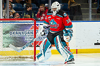 KELOWNA, BC - NOVEMBER 26:  Roman Basran #30 of the Kelowna Rockets scuffs the ice in the crease at the beginning of second period against the Edmonton Oil Kings at Prospera Place on November 26, 2019 in Kelowna, Canada. (Photo by Marissa Baecker/Shoot the Breeze)