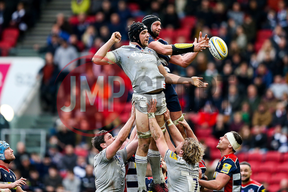 Charlie Ewels (co-capt) of Bath Rugby and Dan Tuohy of Bristol Rugby - Rogan Thomson/JMP - 26/02/2017 - RUGBY UNION - Ashton Gate Stadium - Bristol, England - Bristol Rugby v Bath - Aviva Premiership.