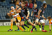 JP du Preez (#5) is tackled by Hamish Watson (#7) of Edinburgh Rugby during the Guinness Pro 14 2018_19 match between Edinburgh Rugby and Toyota Cheetahs at BT Murrayfield Stadium, Edinburgh, Scotland on 5 October 2018.