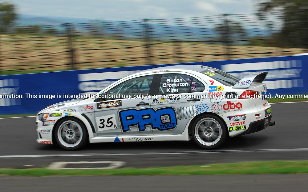 Car #35a - Pro-Duct,.Glenn Seton, Neil Crompton, Mark King,.Mitsubishi.Evo X RS.Armor All Bathurst 12hr Race.February 13th & 14th 2010.Mt Panorama Circuit, Bathurst, NSW, Australia.(C) Joel Strickland Photographics.Use information: This image is intended for Editorial use only (e.g. news or commentary, print or electronic). Any commercial or promotional use requires additional clearance.
